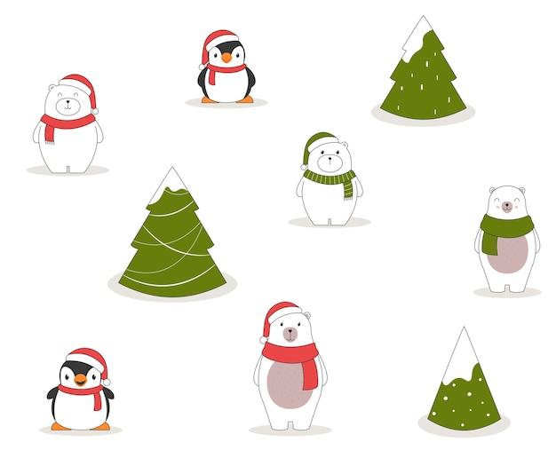 Modèle Sans Couture De Noël Avec Des Pingouins, Des Ours Polaires Et Des Arbres De Noël. Vecteur gratuit