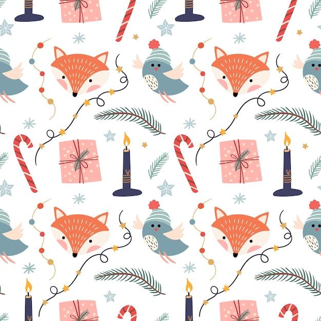 Modèle Sans Couture De Noël Avec Des Renards, Des Oiseaux, Des Bougies Et Des Ornements Vecteur Premium