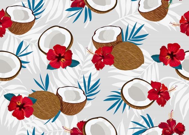 Modèle sans couture de noix de coco avec fleur Vecteur Premium