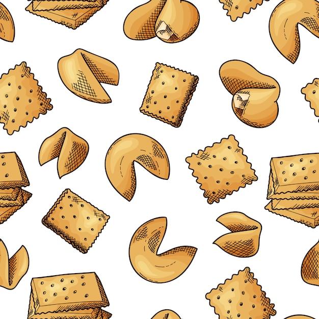 Modèle Sans Couture De Nourriture Naturelle. Cookies De Style Croquis Vecteur Premium