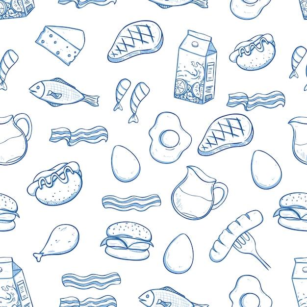 Modèle sans couture de la nourriture savoureuse de déjeuner avec style doodle sur blanc Vecteur Premium