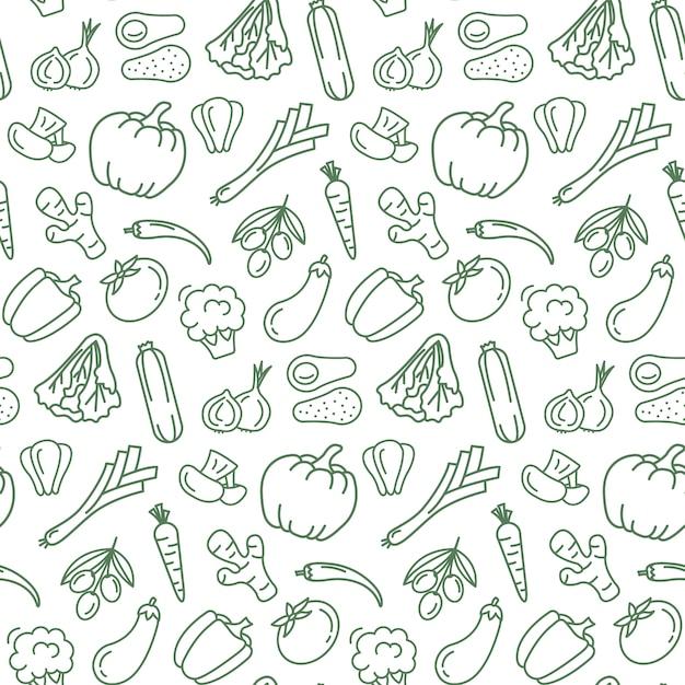 Modèle sans couture avec de la nourriture végétarienne. Vecteur Premium