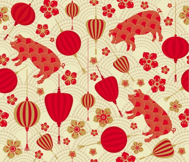 Modèle sans couture avec le nouvel an chinois 2019, année du zodiaque du cochon. Vecteur Premium
