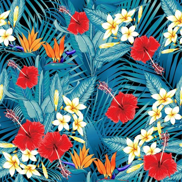 Modèle sans couture oiseau de paradis fleurs tropicales Vecteur Premium