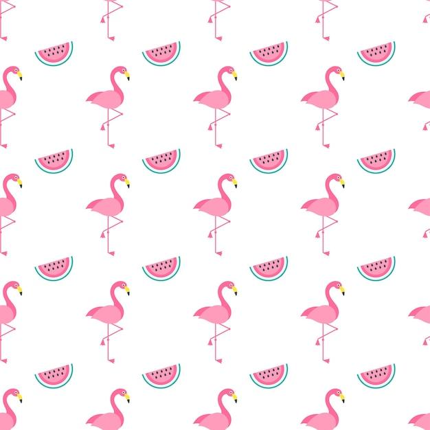 Modèle Sans Couture Avec Des Oiseaux Et Des Pastèques Flamingo Rose Vecteur Premium