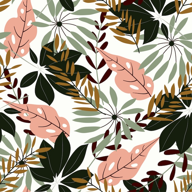 Modèle sans couture original avec des feuilles tropicales Vecteur Premium
