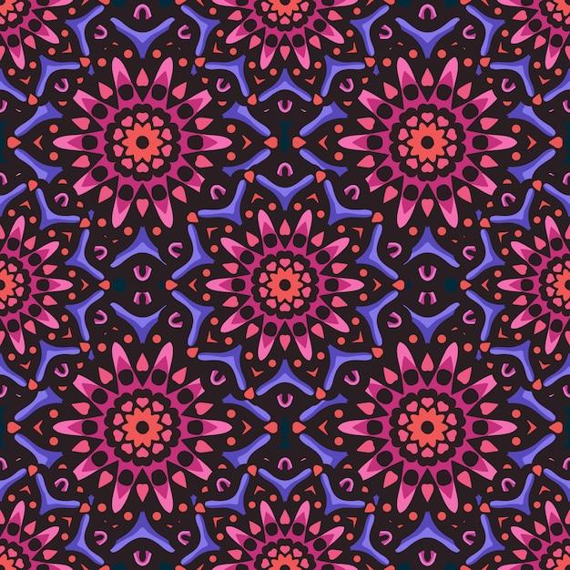 Modèle sans couture avec ornement d'art ethnique mandala. modèle sans couture de mandala. motif floral de mandala Vecteur Premium