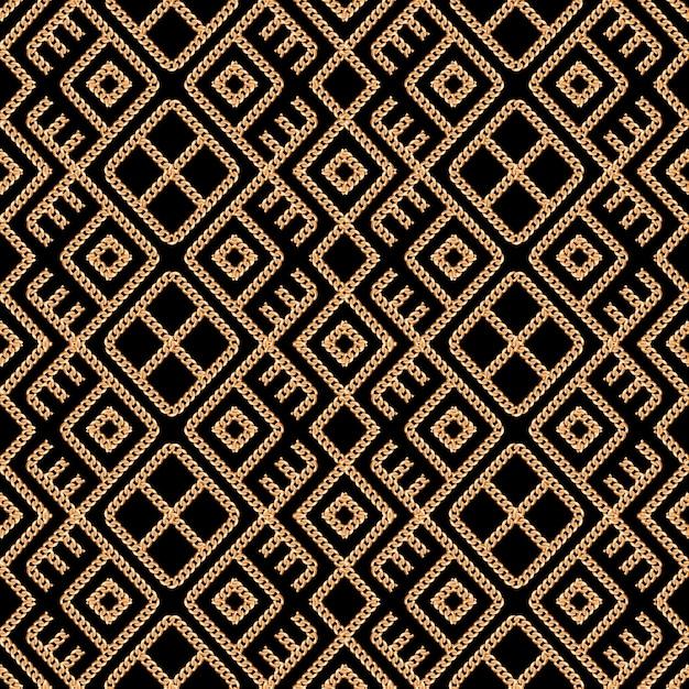 Modèle sans couture d'ornement de la chaîne d'or sur fond noir Vecteur Premium