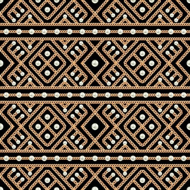 Modèle sans couture d'ornement de chaîne en or et de perles sur fond noir Vecteur Premium