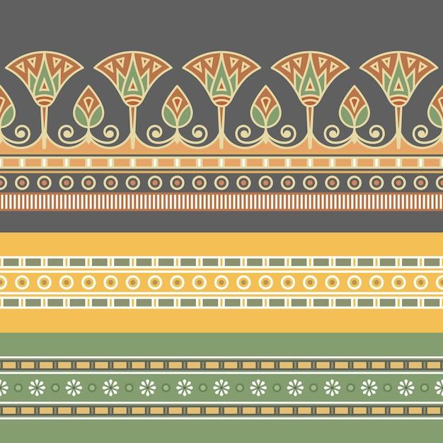 Modèle Sans Couture D'ornement égyptien Avec Une Fleur De Lotus. Vecteur Premium