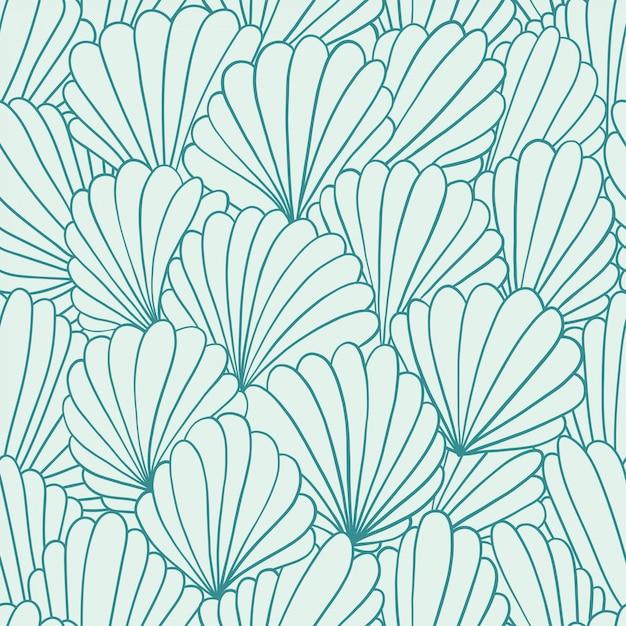 Modèle sans couture avec des ornements de coquille abstraite. illustration dessinée à la main Vecteur Premium