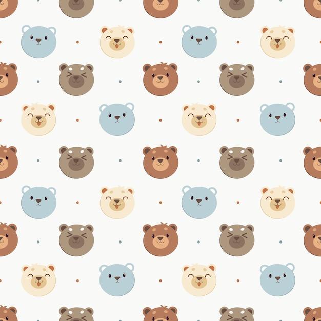 Le modèle sans couture de l'ours blanc et l'ours bleu et l'ours brun à pois. le personnage d'ours mignon dans un style vectoriel plat. Vecteur Premium