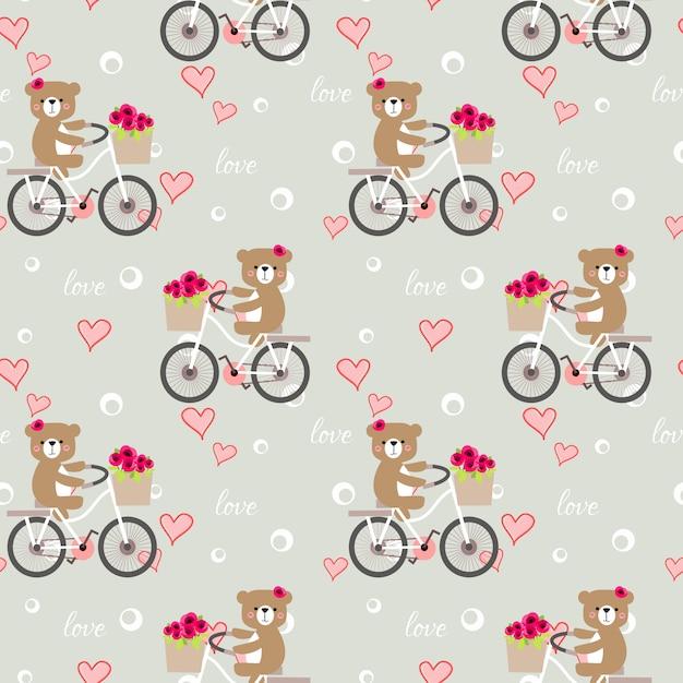 Modèle sans couture d'ours mignon faire du vélo en fond de saint-valentin. Vecteur Premium