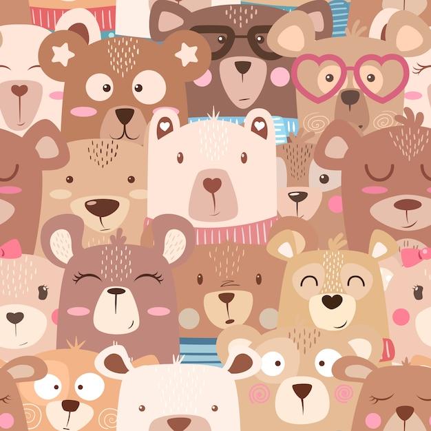 Modèle sans couture - ours mignon Vecteur Premium