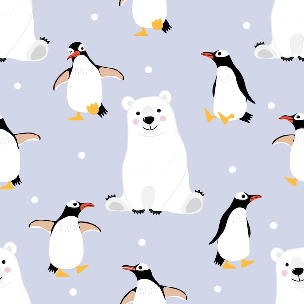 Modèle sans couture ours et pingouin polaire et arrière-plan. Vecteur Premium