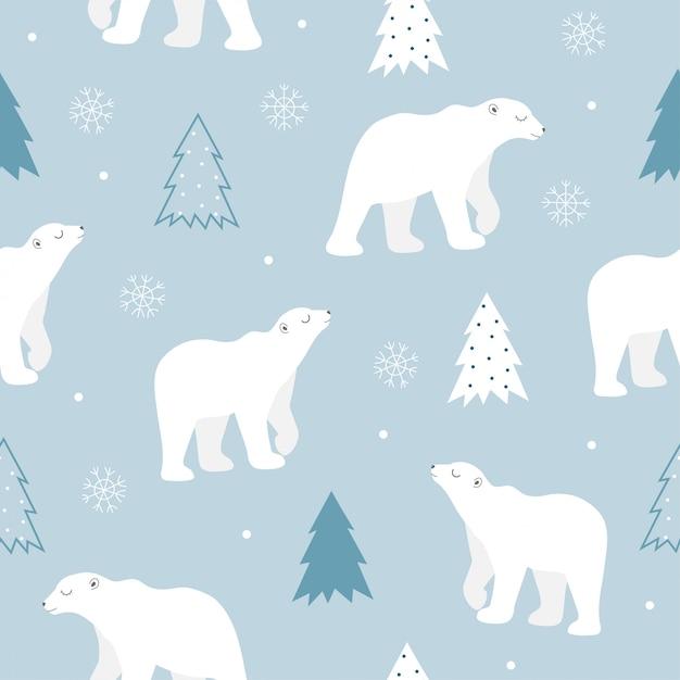 Modèle sans couture d'ours polaire mignon. Vecteur Premium