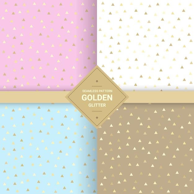 Modèle sans couture de paillettes triangle d'or Vecteur Premium