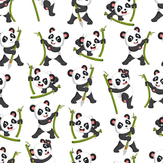 Modèle sans couture avec panda jouant avec le bambou vert Vecteur Premium