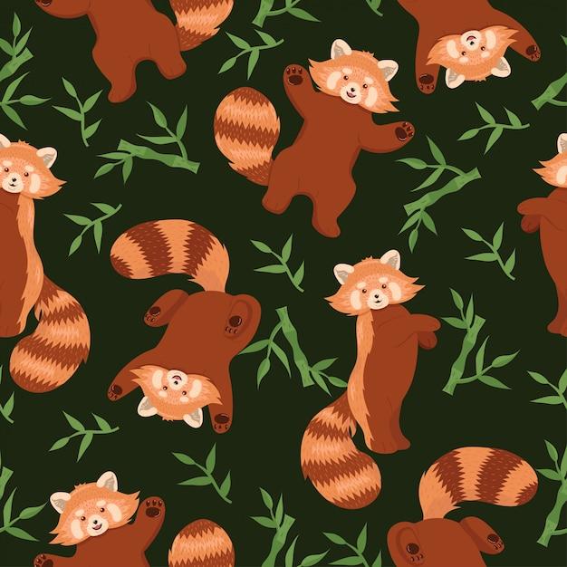 Modèle Sans Couture Avec Des Pandas Rouges. Graphique. Vecteur Premium