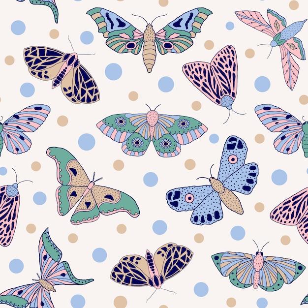 Modèle Sans Couture Papillon Vecteur Premium