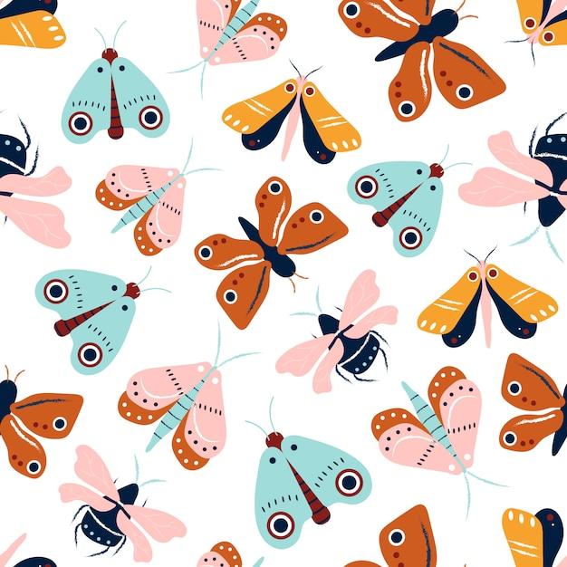 Modèle sans couture papillons et papillons Vecteur Premium