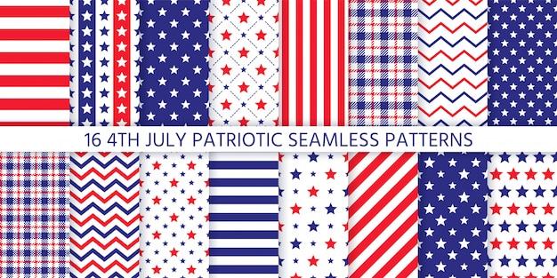 Modèle Sans Couture Patriotique Américain. Illustration. 4 Juillet Imprimés Bleu, Rouge. Vecteur Premium