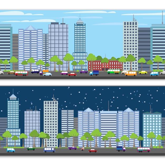 Modèle sans couture de paysage urbain Vecteur Premium