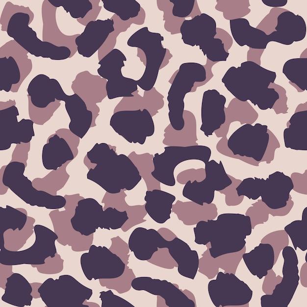Modèle sans couture de peau abstraite léopard. les couleurs pourpres et noires se répètent. papier peint fourrure animale Vecteur Premium