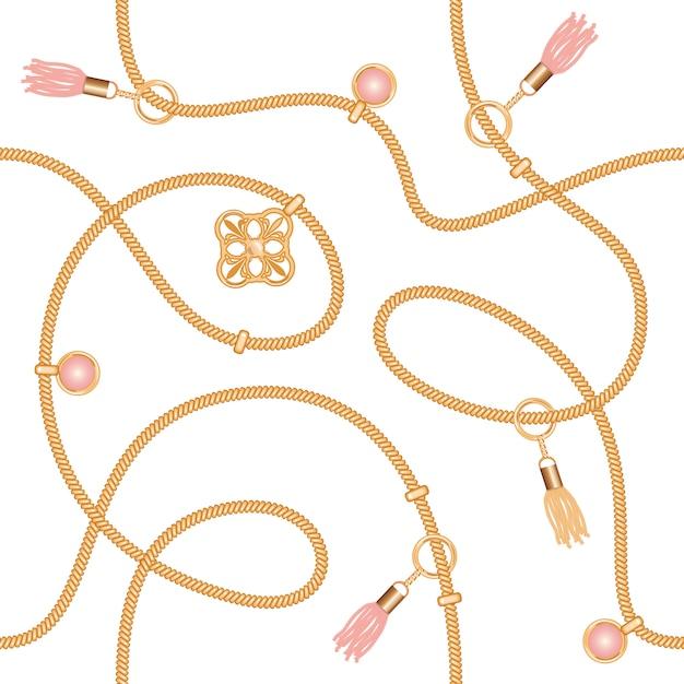 Modèle sans couture avec pendentif de chaînes et des glands. Vecteur Premium