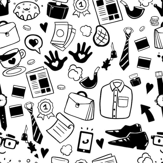 Modèle sans couture père heureux doodles Vecteur Premium