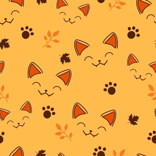 Modèle sans couture petit chat en halloween Vecteur Premium