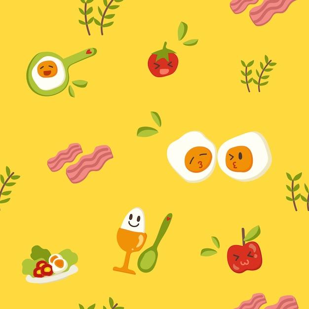 Modèle sans couture de petit-déjeuner dessiné à la main. Vecteur Premium