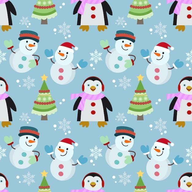 Modèle sans couture de pingouin et bonhomme de neige. Vecteur Premium