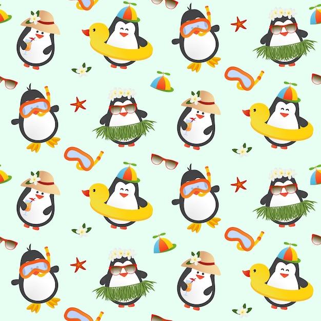 Modèle Sans Couture De Pingouins Mignons Vecteur Premium