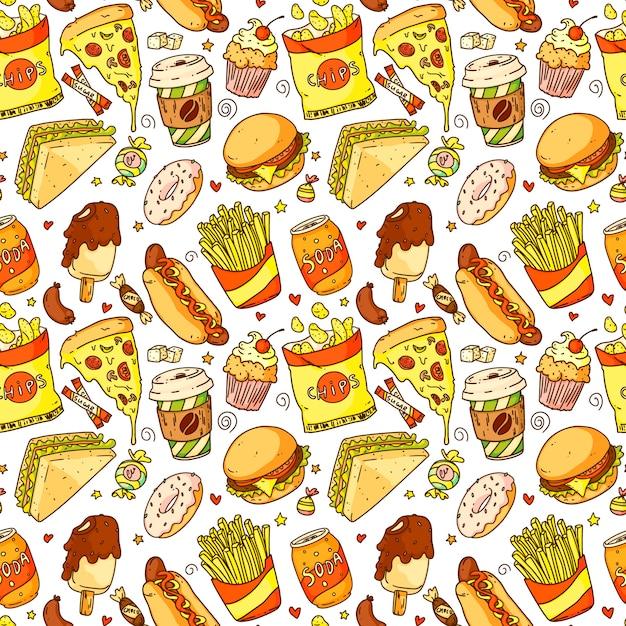Modèle Sans Couture Avec Pizza De Dessin Animé, Hamburger, Hot-dog, Café, Frites, Sandwich, Beignet, Soda, Chips. Illustration Vectorielle De Restauration Rapide Et Boisson Vecteur Premium
