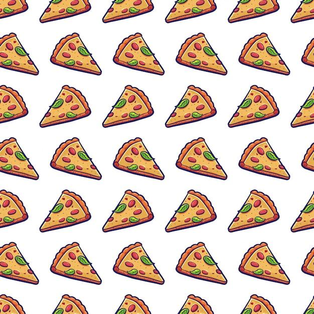 Modèle Sans Couture De Pizza Tranche De Vecteur Vecteur Premium