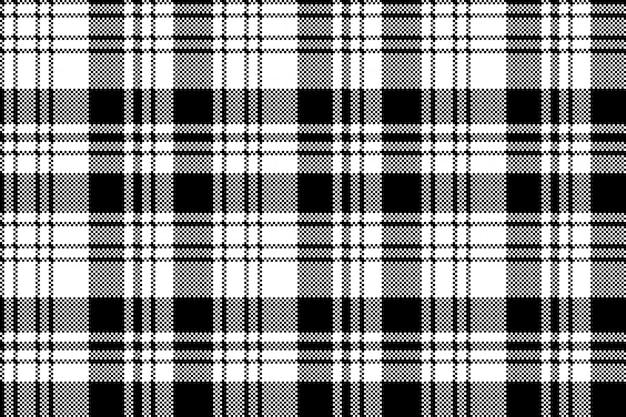 Modèle sans couture de plaid blanc noir pixel Vecteur Premium