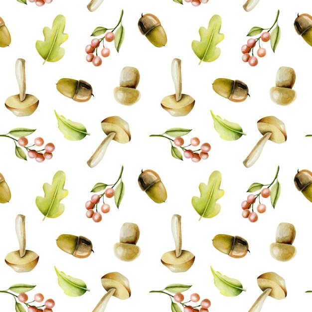 Modèle sans couture avec plantes automne aquarelles Vecteur Premium