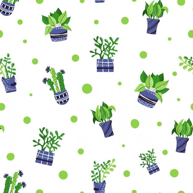 Modèle sans couture avec des plantes de maison en pot de dessin animé Vecteur Premium