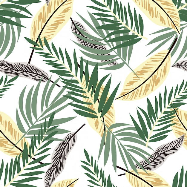 Modèle sans couture avec des plantes tropicales colorées Vecteur Premium