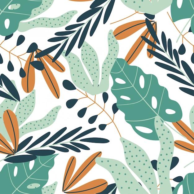 Modèle sans couture avec des plantes tropicales Vecteur Premium
