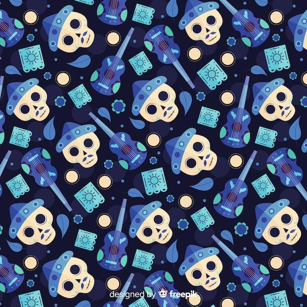 Modèle sans couture plat día de muertos blue Vecteur gratuit
