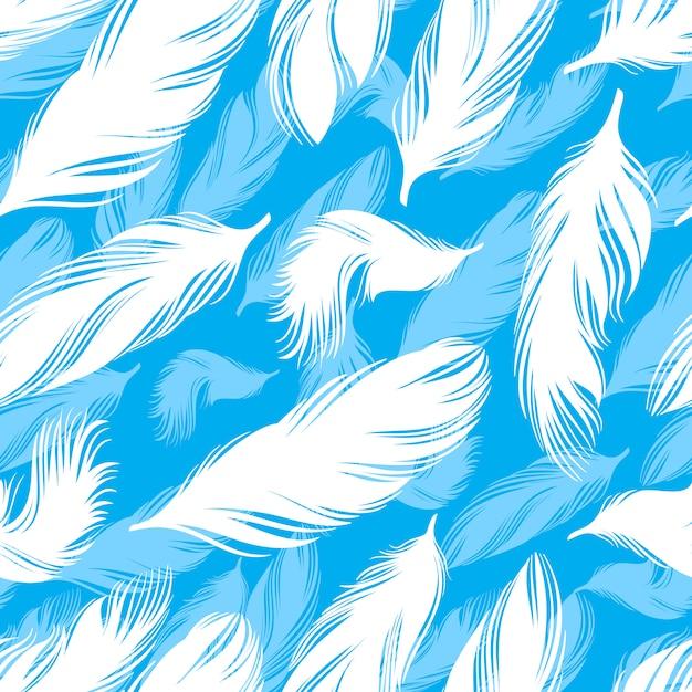 Modèle Sans Couture Avec Des Plumes Blanches Et Bleues Sur Fond Bleu Vecteur Premium