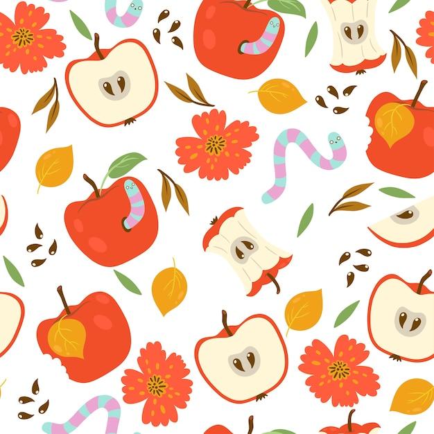 Modèle Sans Couture Avec Pommes Et Vers Sur Fond Blanc. Vecteur Premium