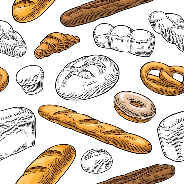 Modèle Sans Couture Pour Boulangerie. Gravure Vintage Dessinée à La Main Noire Vecteur Premium