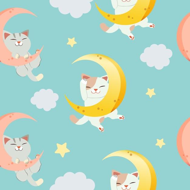 Le modèle sans couture pour le personnage de chat mignon assis sur la lune. le chat dort et sourit. Vecteur Premium
