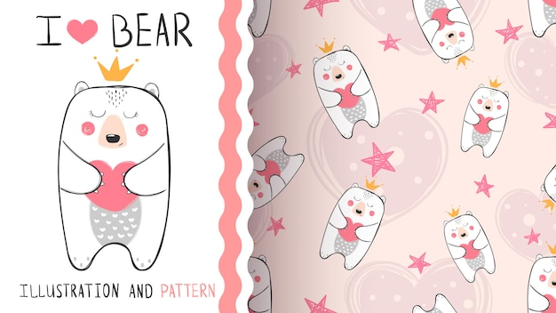 Modèle sans couture princesse petit ours Vecteur Premium