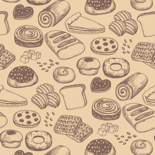Modèle Sans Couture De Produit De Boulangerie Maison Vecteur Premium