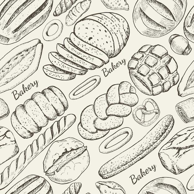 Modèle sans couture avec des produits de boulangerie Vecteur Premium