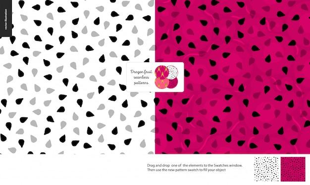 Modèle sans couture de pulpe de fruit de dragon ou de pitaya Vecteur Premium